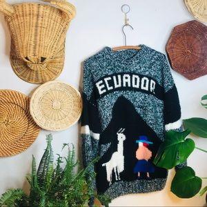 vtg vsco Ecuador alpaca wool oversized sweater